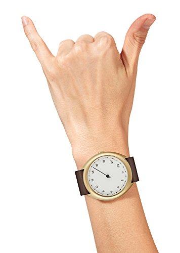 Slow O 12-Dunkelbraun Vintage Leder gold Fall Weiß Zifferblatt Unisex Quarzuhr mit weißem Zifferblatt Analog-Anzeige und dunkelbraun Lederband -