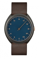 slow Unisex-Armbanduhr slow O 14 - Dark Brown Vintage Leather, Anthracite Case, Blue Dial Analog Leder Dunkelbraun slow O 14 -