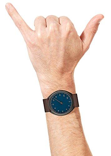 slow Unisex-Armbanduhr slow O 14 - Dark Brown Vintage Leather, Anthracite Case, Blue Dial Analog Leder Dunkelbraun slow O 14 -